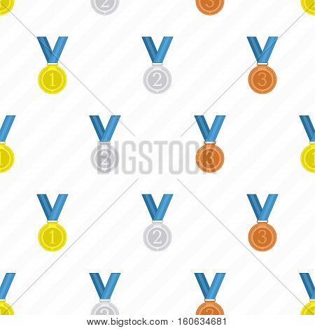 Gold, silver and bronze medals, seamless pattern in flat design style. Champion award and trophies template.