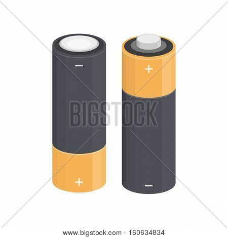 Illustration of isolated cylinder AA batteries from different sides in flat style. Modern design on a white background icons.