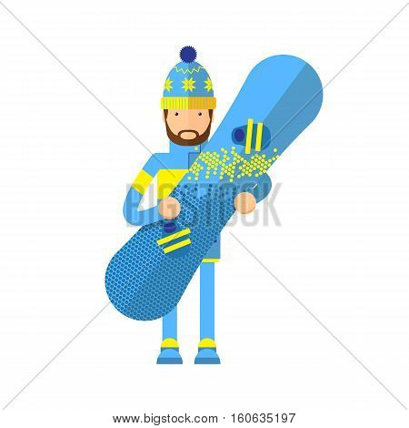 Smiling snowboarder man in winter ski sportswear, helmet and goggles standing with green snowboard in hand