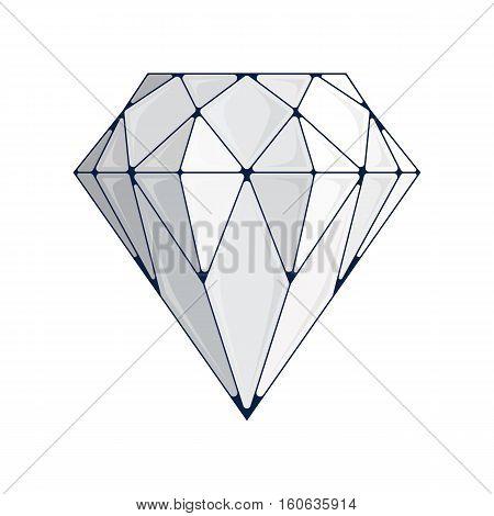 Diamond icon. Crystal symbol. Brilliant vector illustration on a white background.