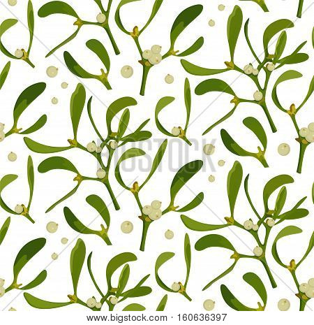 Mistletoe branch berries leaves Christmas xmas holiday symbol seamless floral plant nature botany texture wallpaper background backdrop design. Vector beautiful closeup side view isolated illustration