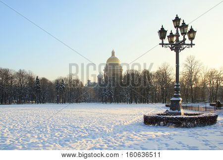 Winter morning on the Senate square in St. Petersburg