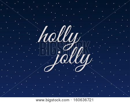 Holly Jolly. Christmas Lettering With Snowflakes. Vector Illustration.
