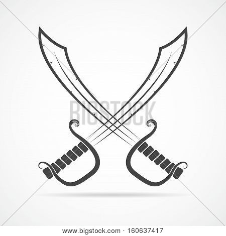 Two crossed swords in flat design. Simple black sword icon isolated. Vector illustration.