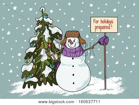 Funny Snowman Hand Drawn Cartoon Style Near A Christmas Tree Waiting For The Onset Of The Holiday.