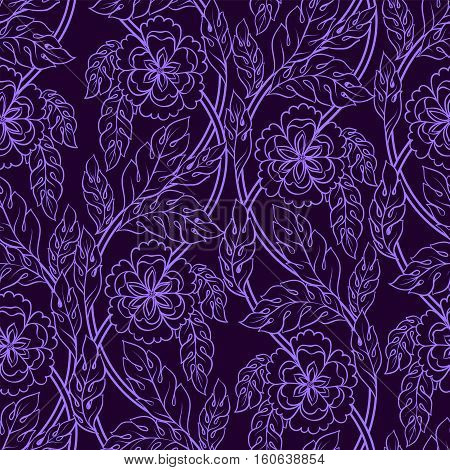 Vector seamless patern background with floral branches. Intricate ornament made of twisted flowers.Lilac lacy outline.