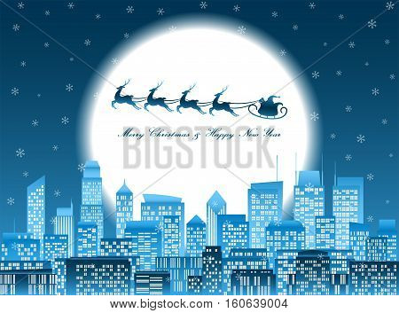 Merry christmas and happy new year celebration santa claus riding reindeer sledge over a group of high-rise buildings in a city at night with glowing big moon and falling snowflake