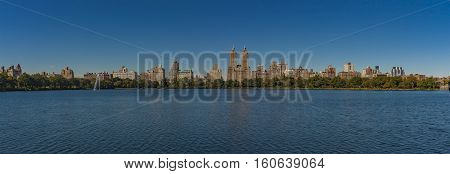 View at New York City Uptown skyline at the afternoon photographed from the sea