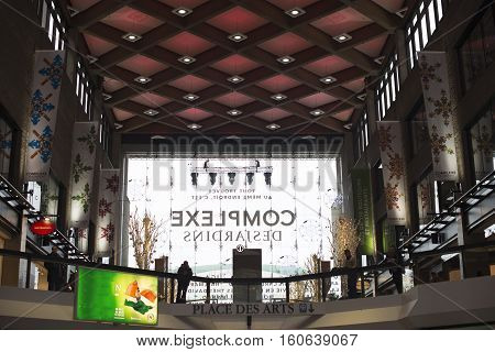 MONTREAL, CANADA -29 NOVEMBER 2016 - The Complexe Desjardins houses a shopping mall, offices, and the Hyatt Regency hotel in central Montreal