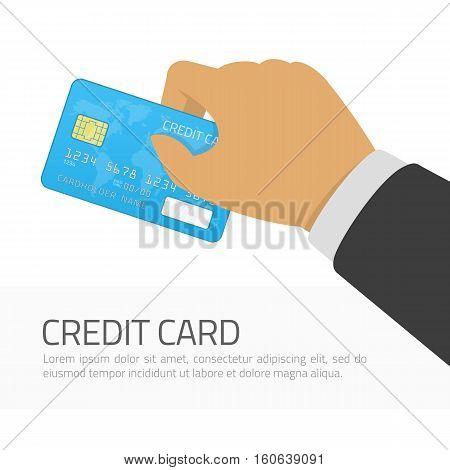 Hand holding blue credit card whit global map. Modern vector illustration in flat design style. Payment, withdraw money, purchase, financial transaction concepts. Isolated on white background.