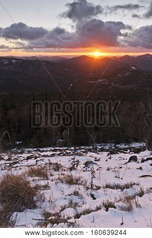 Mountain sunset landscape in winter Czech Republic