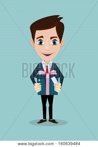 Man holding big gift box with bow. Stock vector illustration