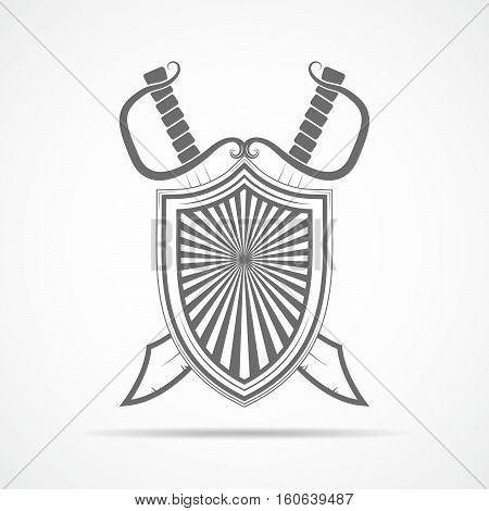 Shield with two crossed swords in flat style. Shield and two swords isolated. Vector illustration.