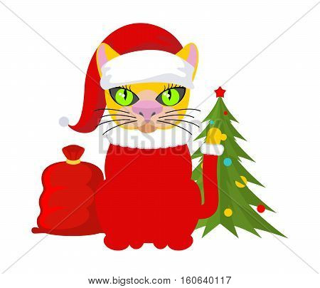 Christmas Cat. Pet In Santa Claus Hat. Red Bag With Gifts. New Year Illustration. Xmas Template Of C