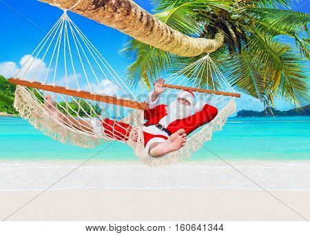 Positive smiling Santa Claus relax in white cozy mesh hammock under coconut palm tree at exotic island sandy ocean beach - Happy New Year and Merry Christmas travel destinations welcome hand gesture