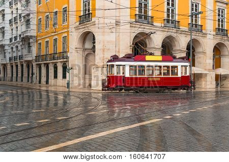 Streetcar in Lisbon, Portugal on a rainy day
