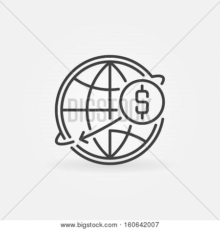 Transfer money online icon. Vector international dollar money transfer concept outline symbol or sign