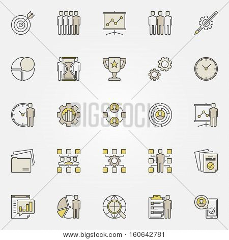 Colorful project management icons. Vector business planning and strategy symbols or signs