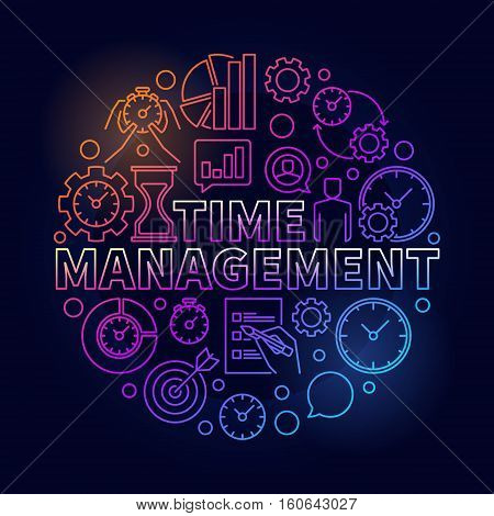 Time management colorful round illustration. Vector business and time management circular concept linear sign