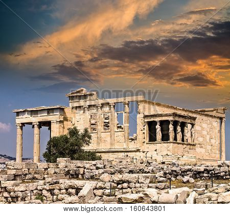 Temple of Erechtheum Acropolis Athens Greece at Sunset