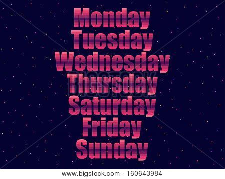 Days of the week in 80's retro style. Text in the futuristic style neon. Vector illustration.