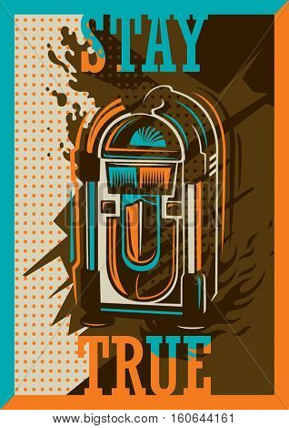Colorful retro style poster with jukebox. Vector illustration.