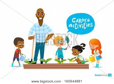 Teacher and kids engaged gardening in the backyard. Girl watering flowers in the garden. Eco concept. Montessori education concept. Organic gardening. Vector illustration