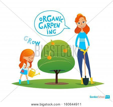 Planting tree with kids. Eco concept. Engaging in Montessori education activities. Organic gardening. Vegan garden. Vector illustration