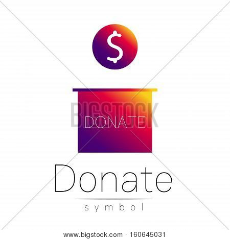 Donation sign icon. Donate money box. Charity or endowment symbol. Human helping. Icon on white background. Vector.Violet color. Concept.