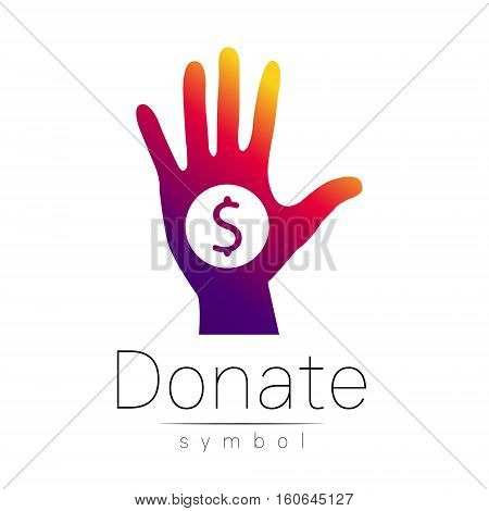 Donation sign icon. Donate money hand. Charity or endowment symbol. Human helping. Icon on white background. Vector.Violet color. Concept.