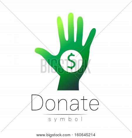 Donation sign icon. Donate money hand. Charity or endowment symbol. Human helping. Icon on white background. Vector.Green color. Concept.