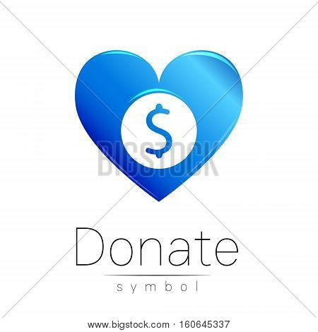 Donation sign icon. Donate money heart. Charity or endowment symbol. Human helping. Icon on white background. Vector.Blue color. Concept.