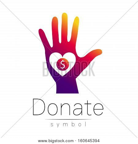 Donation sign icon. Donate money hand and heart. Charity or endowment symbol. Human helping. Icon on white background. Vector.Violet color. Concept.
