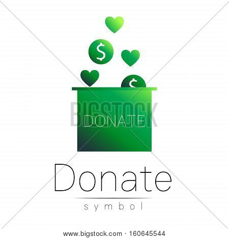 Donation sign icon. Donate money box and heart. Charity or endowment symbol. Human helping. Icon on white background. Vector.Green olor. Concept.