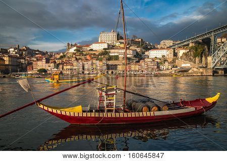 Porto Panorama view with gondola in foreground