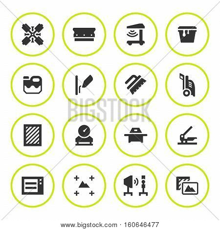 Set round icons of screen printing isolated on white. Vector illustration