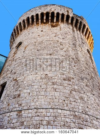 detail Norman tower of the castle of Conversano Puglia - Italy