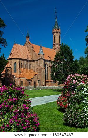 Neogothic church of the Blessed Virgin Mary in  Druskininkai, Lithuania.