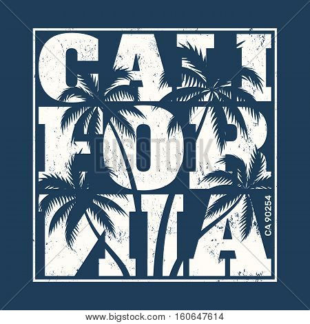 California Tee Print With Palm Trees. T-shirt Design, Graphics, Stamp, Label, Typography.