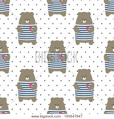 Cute bear seamless pattern on polka dots background. Cartoon parisian teddy bear vector illustration. Child drawing style animal background. Design for fabric, textile etc.