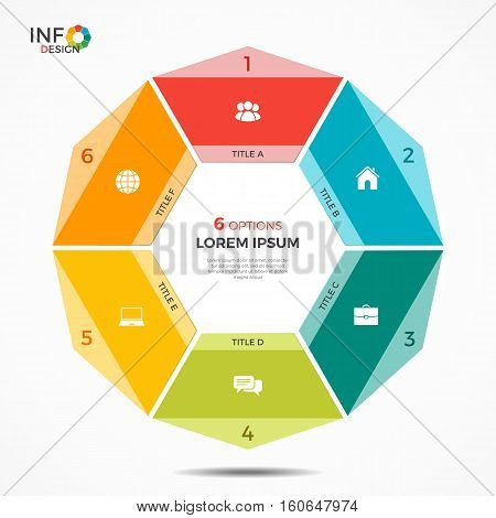 Colorful Infographic Template With 6 Options Circle Chart