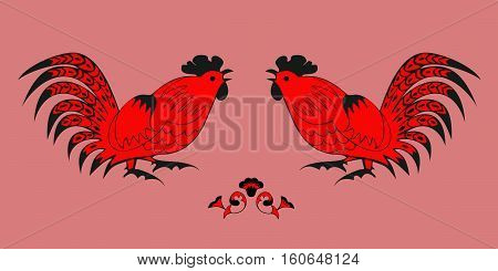 Fighting of red roosters on a red background. Symbol of Chinese horoscope and folklore personage. Vector illustration suitable as part of the ornament, design elements for decoration, etc.