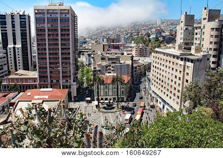 VALPARAISO, CHILE-NOV. 7, 2016:  A view overlooking one of the main squares of Valparaiso, Chile - the third largest city in population of the country.