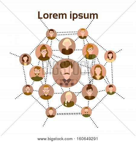 Graph Set Human Resources Infographic Icon Business Network Chart Flat Vector Illustration