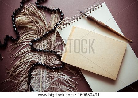 background vintage for condolence card with feather