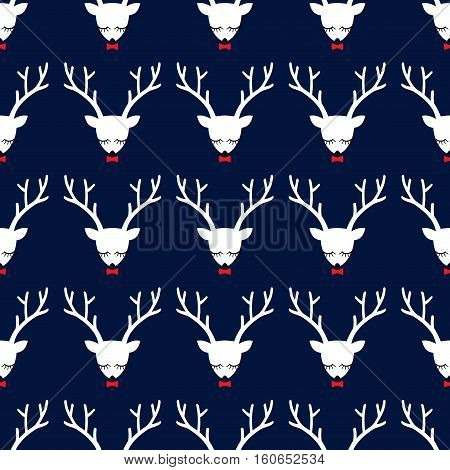 Xmas deer seamless pattern on dark blue background. Cute deer with bow background for Christmas holidays. Xmas deer Illustration. Design for textile, wallpaper, web, fabric, decor etc.