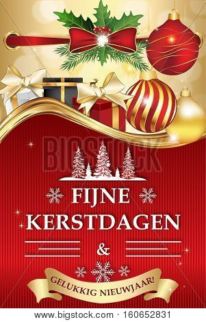 Fijne Kerstdagen en Gelukkig Nieuwjaar! (Merry Christmas and Happy New Year) - dutch corporate greeting card. Print colors used, size of a custom postcard. Contains Christmas decorations, gift boxes.