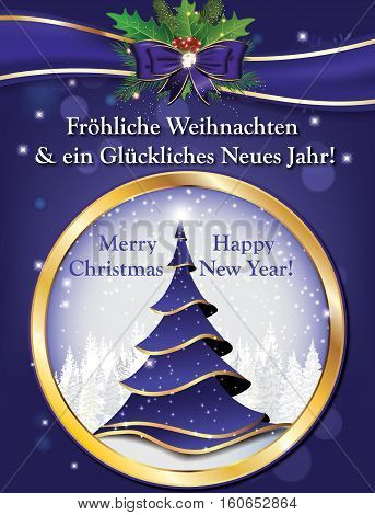 Frohliche Weihnachten und ein Gluckliches Neues Jahr! German wishes for winter holiday season (Merry Christmas and Happy New Year) - printable greeting card with Christmas tree and winter background