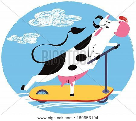 Vector cheerful cow riding a scooter. Animals like humans.
