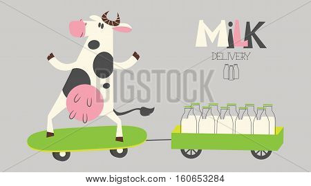 Vector cheerful cow delivers milk bottles on a skate. Organic farm milk delivery service.
